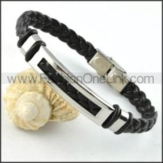 Silver Hasp Black Leather Bracelet b000026