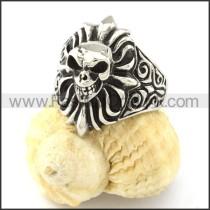 Stainless Steel Wicked Skull Ring r000837