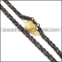 Vintage Black Plated Necklace n000717