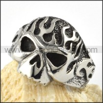 Flame Stainless Steel Skull Ring r000061
