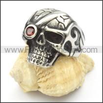 Stainless Steel Red Eye Skull Ring r000428