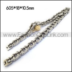 18MM Wide Stainless Steel Bicycle Chain Necklace for Bikers n001164