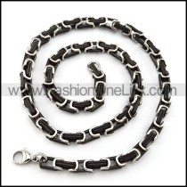 Unique Black and Silver Plated Necklace   n000516