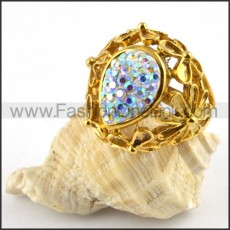 Yellow Gold Stainless Steel Ring with Multi Rhinestones r000182