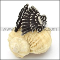Stainless Steel Wings Feather Ring r000439