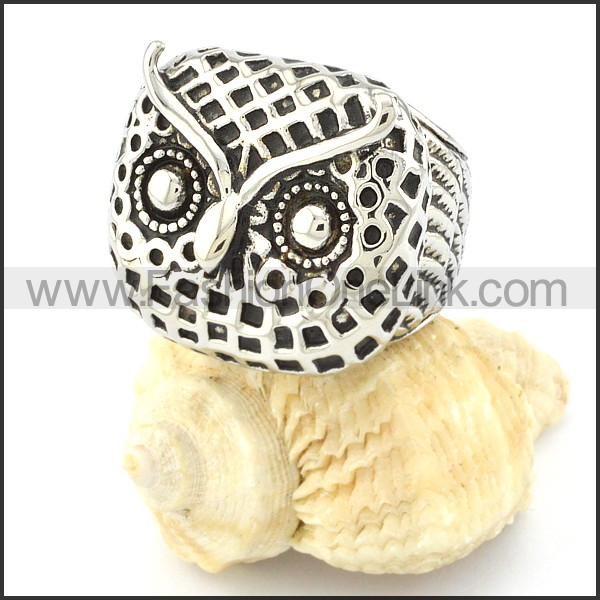 Stainless Steel Owl Ring r000650