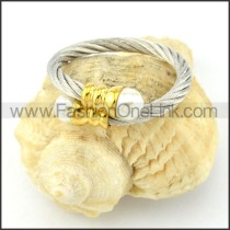 Stainless Steel Elegant Rope Ring in Silver Color r000559
