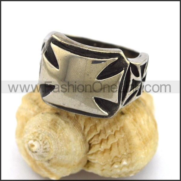 Stainless Steel Cross Ring  r003315