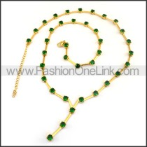 Golden Necklace with Green Stone n001170
