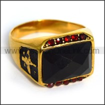 Vintage Exquisite Stainless Steel Stone Ring    r003606