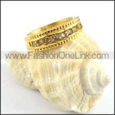 Stainless Steel Loyal Gold  ring with Zircon r000175
