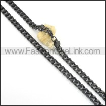 Succinct Black Plated Necklace  n000511