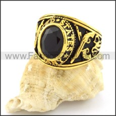 316L Vintage Round  Stone Ring r000543