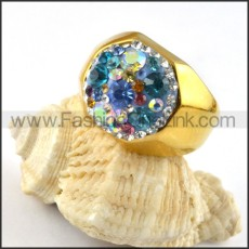 Facted Rhinestone Stainless Steel  Ring r000208