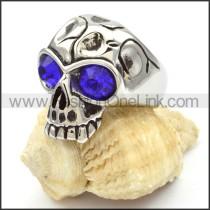 Stainless Steel Blue Eyes Skull Ring r000471