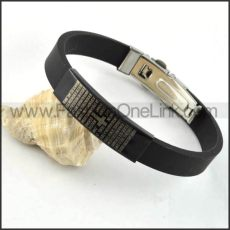 Bible and Cross Black Rubber Bracelet b000006