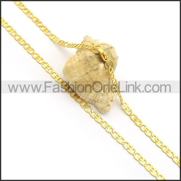 Golden Flat Chain Plated Necklace n000902