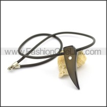 Black Rubber Necklace with a Sparkle Stone  n000979