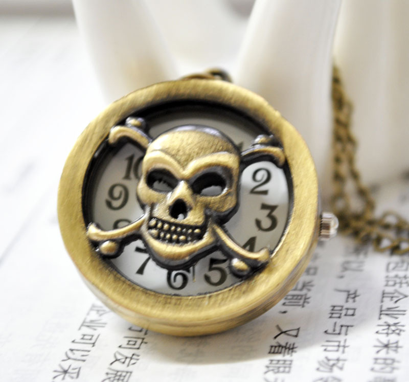 Vintage Skull Pocket Watch Chain PW000166