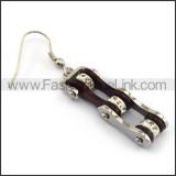 Black and Silver Biker Earrings    e001063