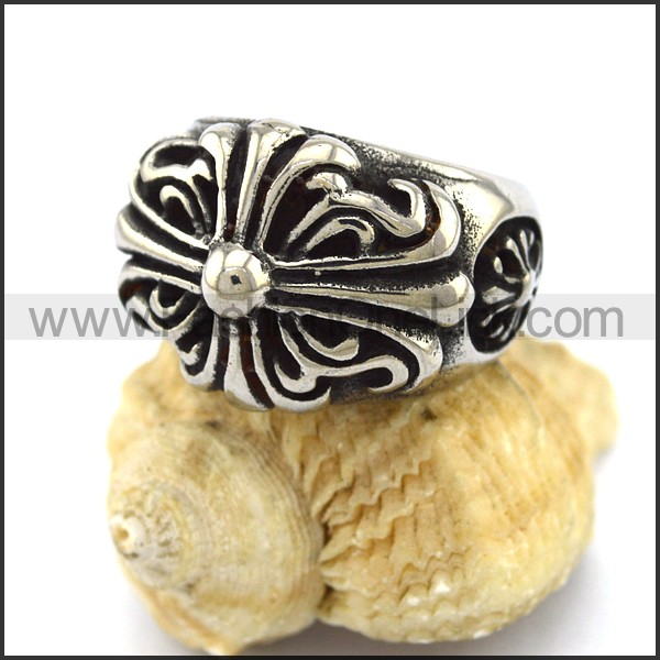 Stainless Steel Cross Ring  r003310