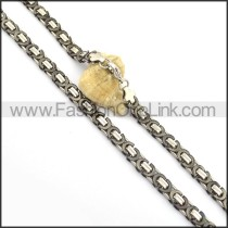 Black and Silver Plated Necklace n000840