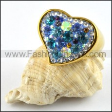 Heart Ring in Stainless Steel with Rhinestones r000201