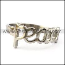 Silver Tone Stainless Steel Peace Letter Ring r004885