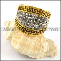 Gold Great Wall Pattern Stainless Steel ring r000234