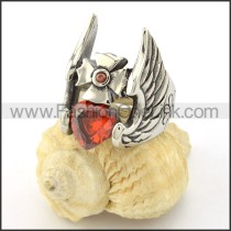 Stainless Steel Red Zircon with Wings Ring  r001133