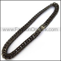 Black Interlocking Chain Plated Necklace n001229