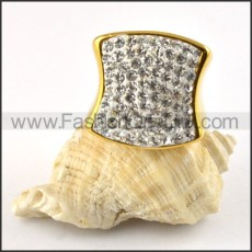 Clear Rhinestone Stainless Steel Ring in yellow gold plating r000199