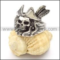 Stainless Steel Chieftain Design Skull Ring r000429