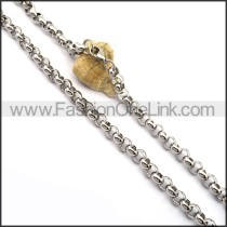 Circle Ring Chain Stamping Necklace n001023