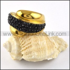 Yellow Gold Stainless Steel Stone Ring r000195