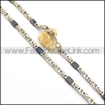 Good Quality Black and Silver Plated Necklace n000837