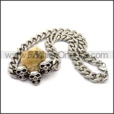 Three Skulls Necklace n001028
