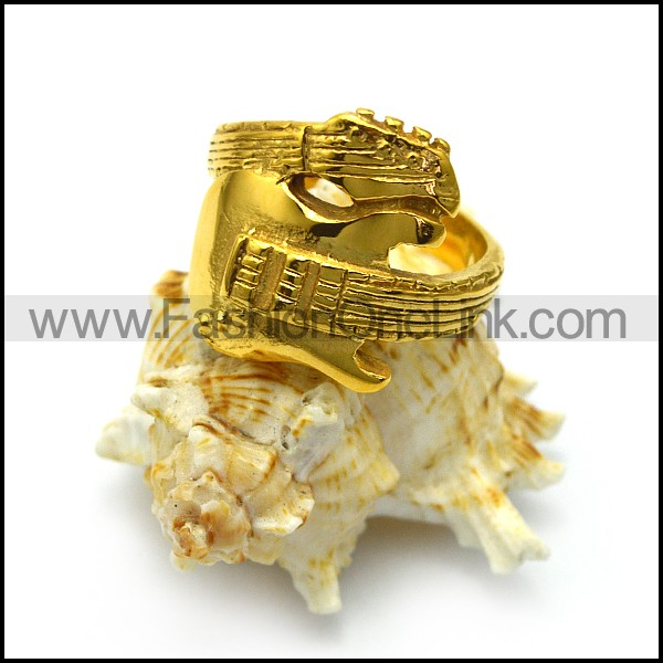 Golden Guitar Ring in Stainless Steel r005064