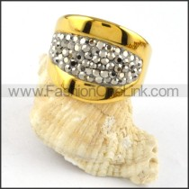 Stainless Steel Plated Stone Ring r000236
