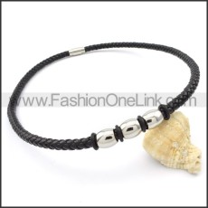 Black Leather Necklace   n000096