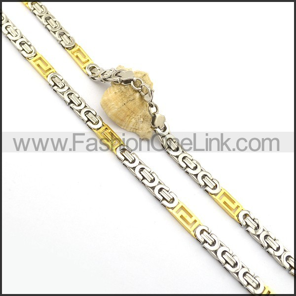 Silver and Gold Plated Necklace n000990