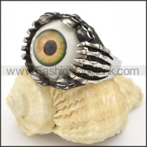 Stainless Steel Prong Setting Eye Ring r000320
