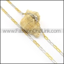 Silver and Gold Flat Interlocking Chain Plated Necklace n000909
