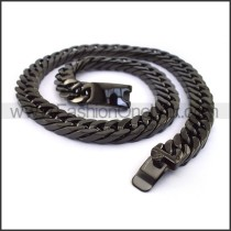 Black Hasp Interlocking Chain Plated Necklace n001128