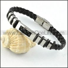 Silver Hasp Black Leather Bracelet b000025