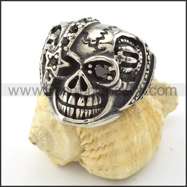 Stainless Steel Skull Ring r001058