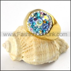 Gold Ring in Stainless Steel with Shiny Crystals r000207
