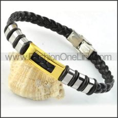 Gold Hasp Black Leather Bracelet b000018