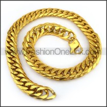 Gold Hasp Stamping Necklace n001135