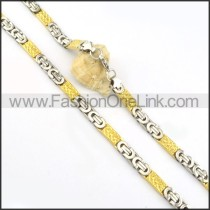 Golden and Silver Stainless Steel Necklace     n000182